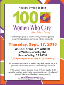 100 Women Who Care About Solano County to meet on September 17, 2015